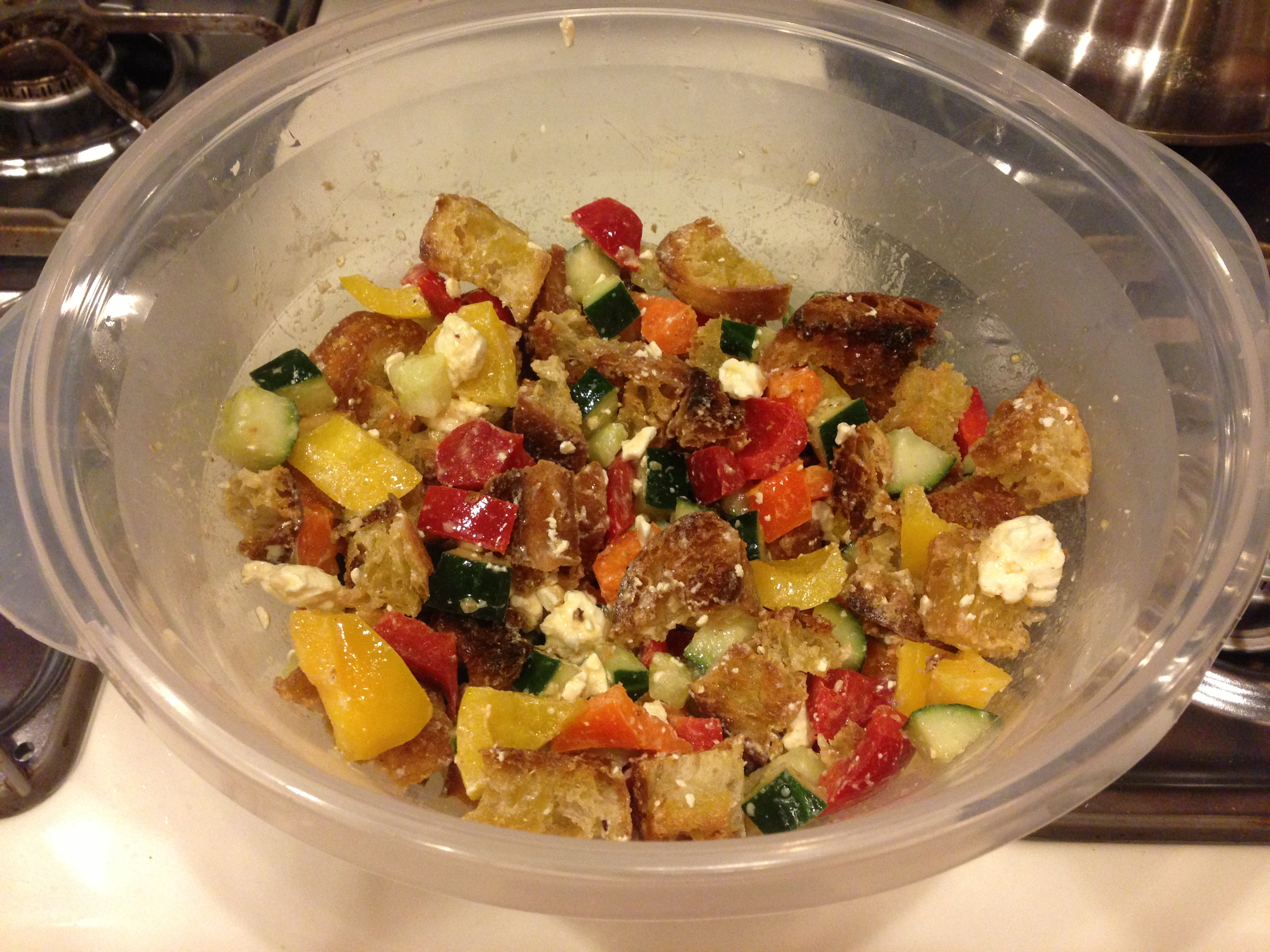 From vicki s kitchen greek panzanella barefoot philadelphia Barefoot contessa panzanella